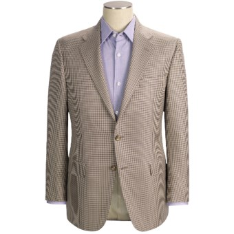 Hickey Freeman Mini-Check Sport Coat - Wool-Silk (For Men) in Cream/Brown