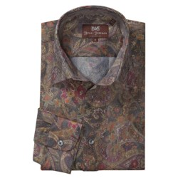 Hickey Freeman Paisley Sport Shirt - French Front, Long Sleeve (For Men) in Harvest