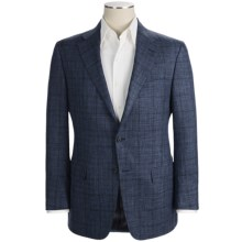 Hickey Freeman Plaid Sport Coat - Wool-Linen-Silk (For Men) in Med Blue - Closeouts