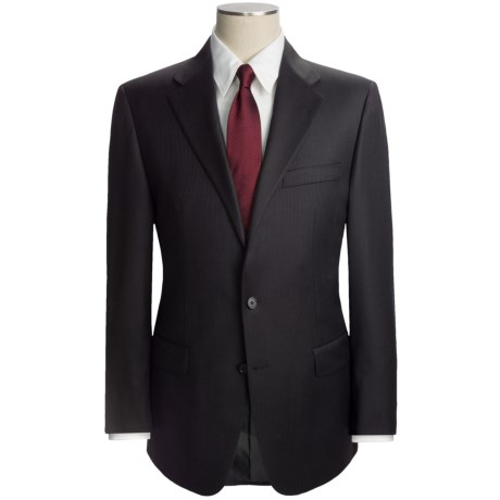 Hickey Freeman Slim Jim Beaded Stripe Suit - Worsted Wool (For Men) in Black