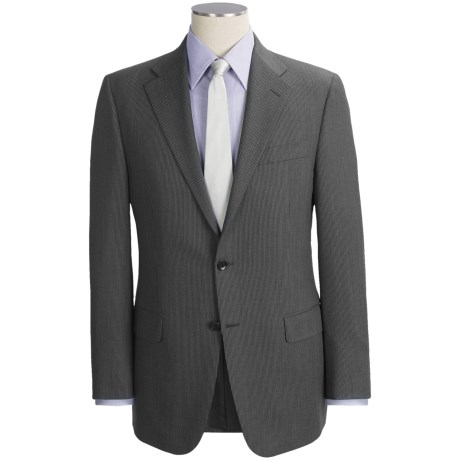 Hickey Freeman Slim Jim Beaded Stripe Suit - Worsted Wool (For Men) in Charcoal