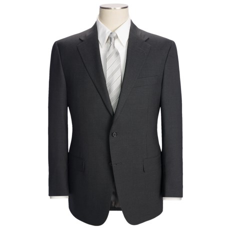 Hickey Freeman Solid Flat Weave Suit - Worsted Wool (For Men) in Charcoal