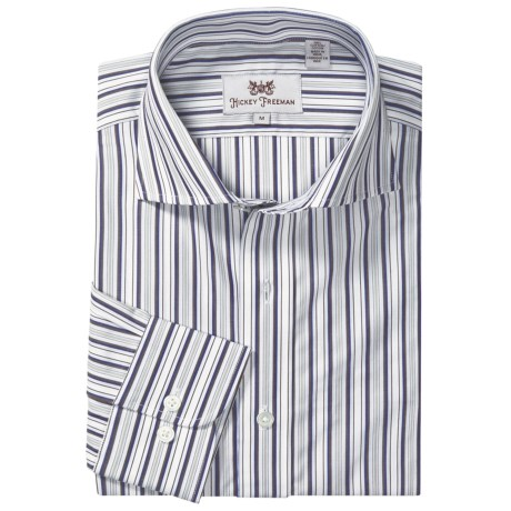 Hickey Freeman Stripe Sport Shirt - Long Sleeve (For Men) in Navy