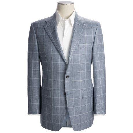 Hickey Freeman Windowpane Sport Coat - Wool-Silk-Linen (For Men) in Steel Blue