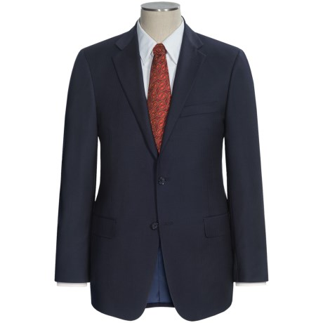 Hickey Freeman Worsted Wool Suit - Subtle Herringbone Stripe (For Men) in Navy