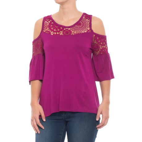 High-Low Cold-Shoulder Shirt - Elbow Sleeve (For Women)