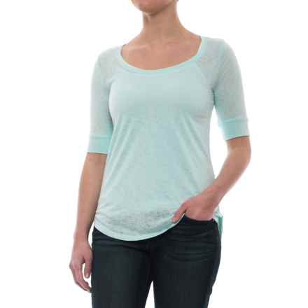 High-Low Hem Shirt - Short Sleeve (For Women) in Blue - 2nds