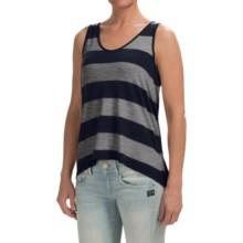 High-Low Hem Slub Shirt - Sleeveless (For Women) in Black/Dark Grey - 2nds