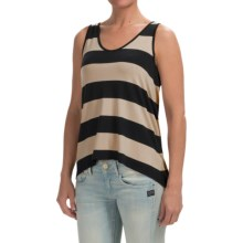 High-Low Hem Slub Shirt - Sleeveless (For Women) in Black/Light Brown - 2nds