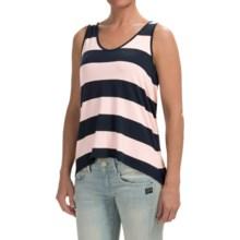 High-Low Hem Slub Shirt - Sleeveless (For Women) in Navy/Pink - 2nds