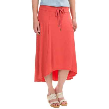 High-Low Midi Skirt (For Women) in Coral - 2nds