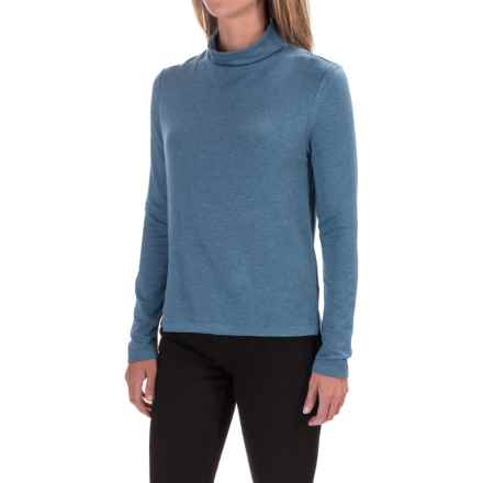 High-Low Mock Turtleneck - Long Sleeve (For Women) in Blue - 2nds