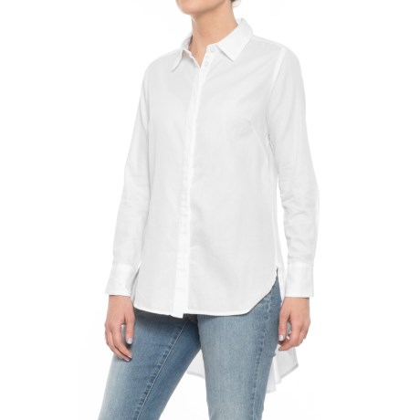 High-Low Pleated Back Shirt - Long Sleeve (For Women)