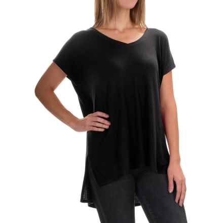 High-Low Shirt - Short Sleeve (For Women) in Black - 2nds