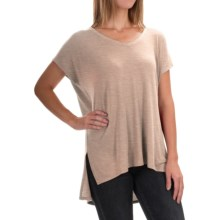 High-Low Shirt - Short Sleeve (For Women) in Neutral Heather - 2nds