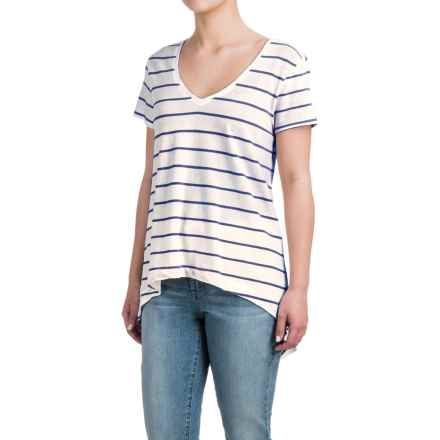 High-Low Striped Shirt - Cotton-Modal, Short Sleeve (For Women) in Ivory/Royal - 2nds