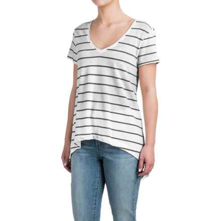 High-Low Striped Shirt - Cotton-Modal, Short Sleeve (For Women) in White/Black - 2nds