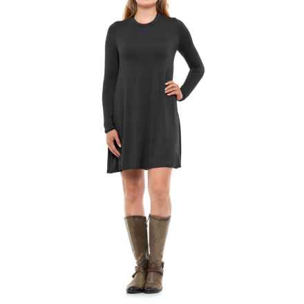 High Neck Dress - Rayon, Long Sleeve (For Women) in Black - 2nds