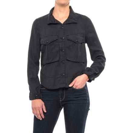 High-Neck TENCEL® Twill Swing Shirt - Long Sleeve (For Women) in Smokey Mountain - 2nds