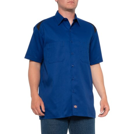 High Performance Shop Work Shirt Short Sleeve For Men Blue