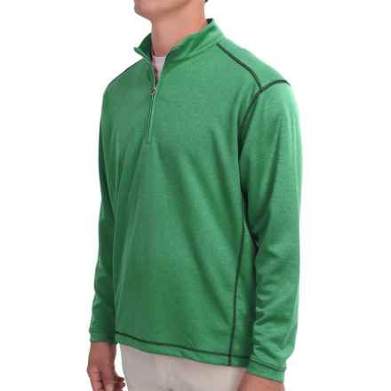 High-Performance Wicking Pullover Shirt - Zip Neck, Long Sleeve (For Men) in Green Heather - 2nds