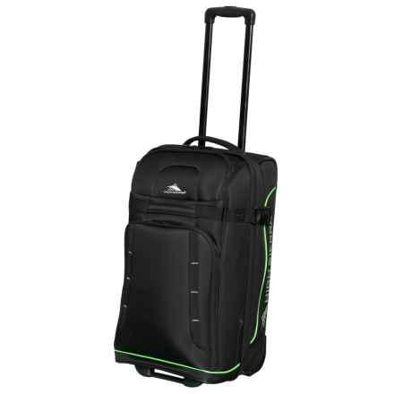 """High Sierra 21"""" Evanston Rolling Carry-On Upright Suitcase in Black/Lime Green - Closeouts"""