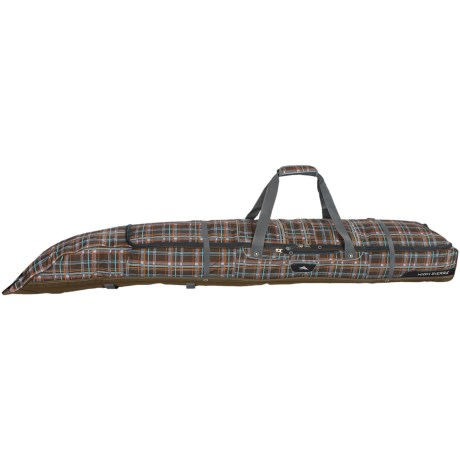 High Sierra Adjustable Double Ski Bag in Mountain Plaid/Espresso