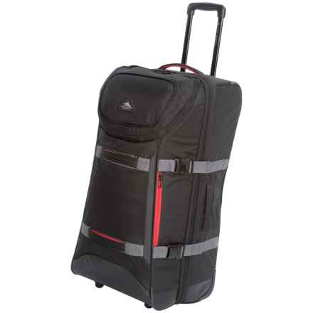 """High Sierra AT Lit Rolling Duffel Bag - 32"""", Expandable in Black/Crimson - Closeouts"""