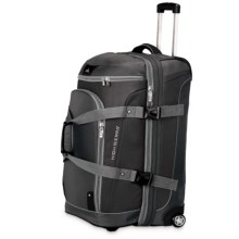 "High Sierra AT3 Rolling Duffel Suitcase - 26"", Drop-Bottom in Black/Ash/Black - Closeouts"