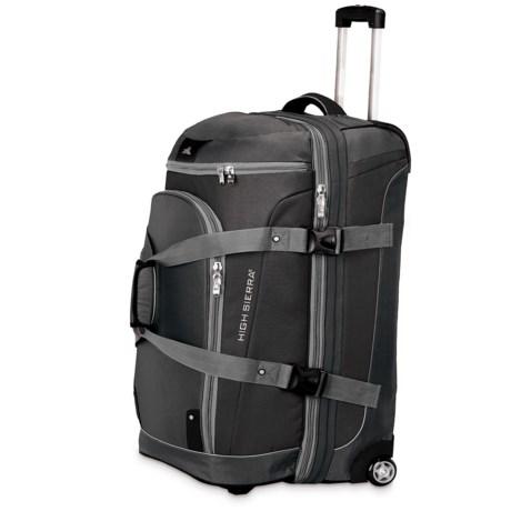 "High Sierra AT3 Rolling Duffel Suitcase - 26"", Drop-Bottom in Black/Ash/Black"