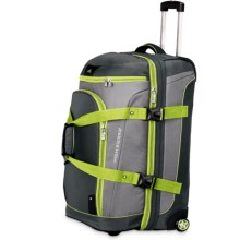 "High Sierra AT3 Rolling Duffel Suitcase - 26"", Drop-Bottom in Black/Charcoal/Chartreuse - Closeouts"