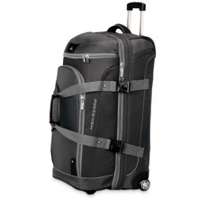 "High Sierra AT3 Rolling Duffel Suitcase - 32"", Drop-Bottom in Black/Ash/Black - Closeouts"