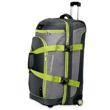 "High Sierra AT3 Rolling Duffel Suitcase - 32"", Drop-Bottom in Black/Charcoal/Chartreuse - Closeouts"