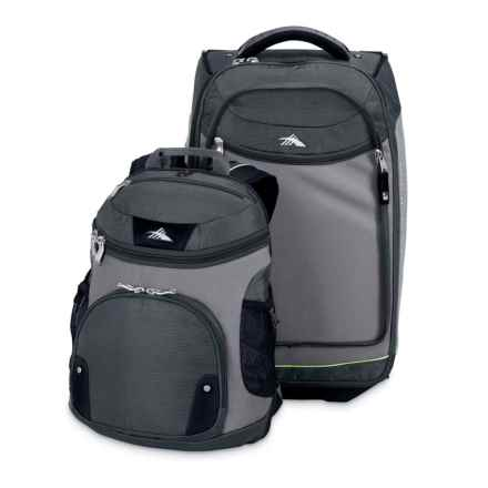 """High Sierra AT3 Rolling Suitcase - 22"""", Removable Backpack in Graphite/Titanium/Spring"""