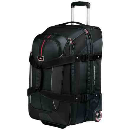 """High Sierra AT6 Expandable Rolling Duffel Bag - 26"""", Drop Bottom in Black - Closeouts"""