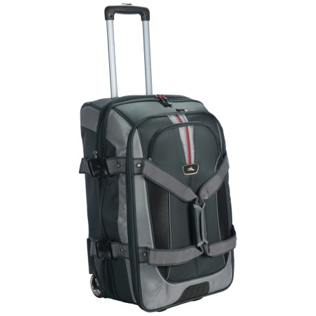 "High Sierra AT6 Expandable Rolling Duffel Bag - 26"", Drop Bottom in Black"