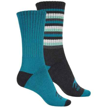 High Sierra Full-Cushion Striped Boot Socks - 2-Pack, Crew (For Women) in Sea Blue - Closeouts