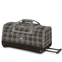 "High Sierra Rolling Cargo Duffel Bag - 28"" in Green Grey/Plaid/Black - Closeouts"