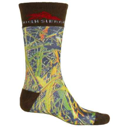 High Sierra Rugged Hiking Socks - Printed Designs, Crew (For Men) in Swamp Grass/Brown - Closeouts