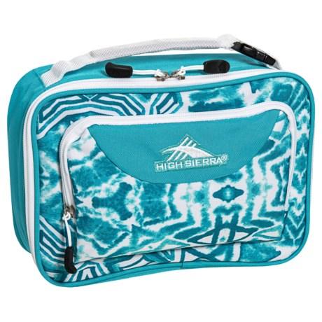 High Sierra Single Compartment Lunch Bag in Teal Shibori/Tropic Teal/White