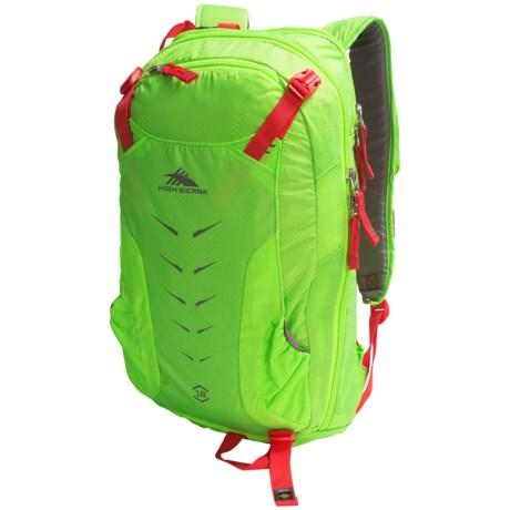 High Sierra Symmetry 18 Ski Backpack in Lime/Red Line