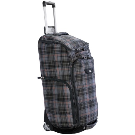 High Sierra Trapezoid Rolling Duffel Bag in Green Grey/Plaid/Black