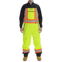 High Visibility Bib Pants with Removable Insulated Liner (For Men) in Fluorescent Lime