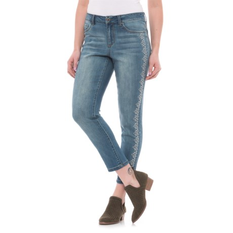 High Waist Embroidered Ankle Jeans (For Women)