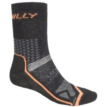 Hilly Cyclo Socks - 3/4 Crew (For Men and Women) in Black/Orange - 2nds