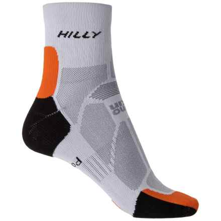 Hilly Marathon Fresh Socks - 3/4 Crew (For Men) in Grey/Orange - 2nds