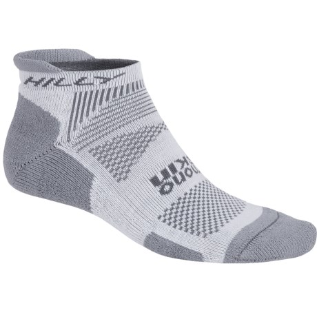 Hilly Padded Running Socks - CoolMax®, Below the Ankle (For Men and Women) in Grey/White