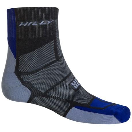 Hilly Twin Skin Socks - Ankle (For Men and Women) in Black/El Blue/Grey
