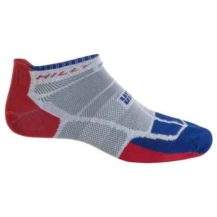 Hilly TwinSkin Socklet Socks - Below the Ankle (For Men and Women) in Grey/El Blue/Red - 2nds