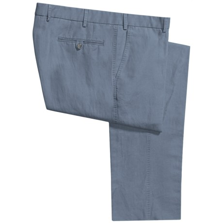 Hiltl Dorigo Pants - Cotton-Linen, Flat Front (For Men) in Blue